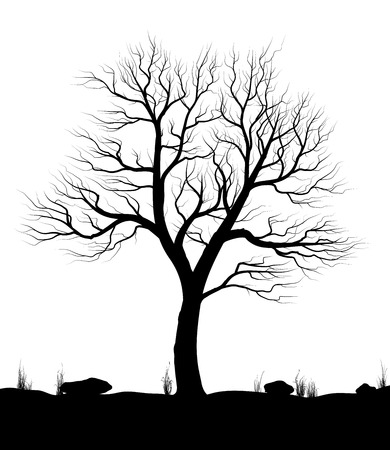 Landscape with old tree and grass over white background. Black and white vector illustration. Ilustração