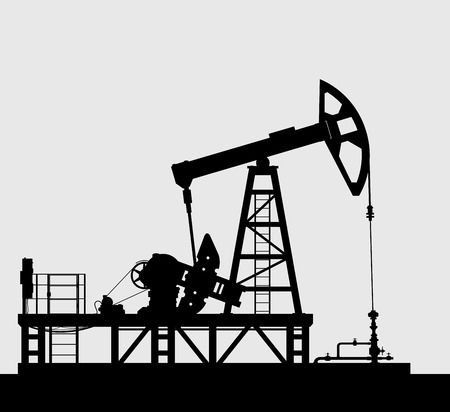 derrick: Oil pump silhouette over grey background