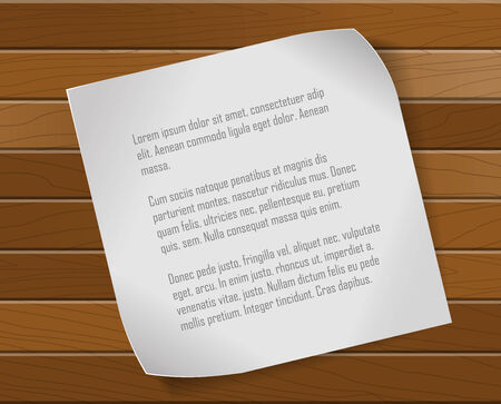Paper sheet over wooden background Vector