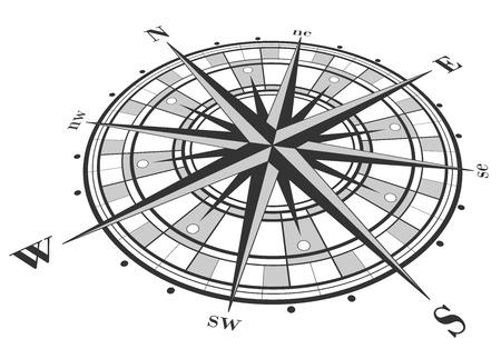 rosa dei venti: Compass rose isolata on white