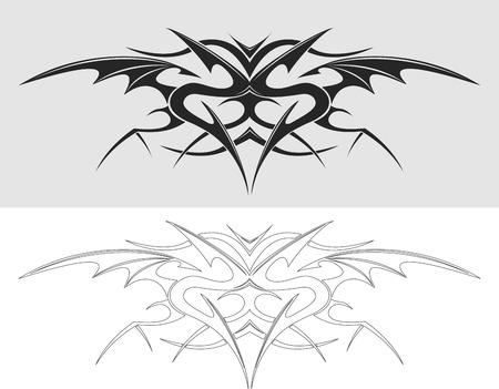 tatuaje dragon: Drag�n silueta tatuaje. Ilustraci�n del vector.