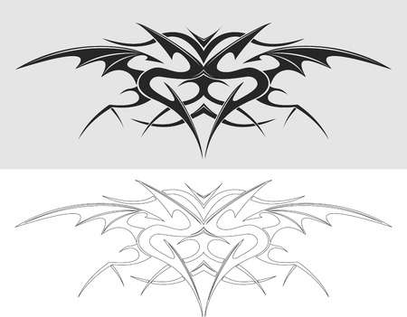 Dragon tattoo silhouet. Vector illustratie.