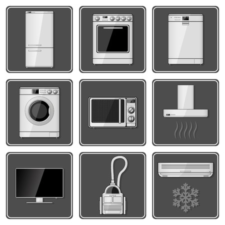Set of realistic household appliances. Vector illustration. Vector