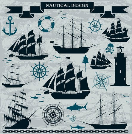 Set of sailing ships with nautical design elements. Vector. No trace. . Vector