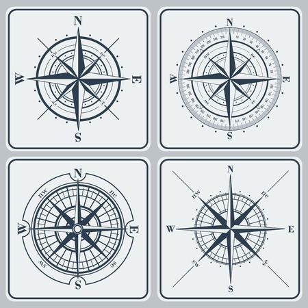 rosa de los vientos: Conjunto de rosas de los vientos (windroses). Ilustración del vector.