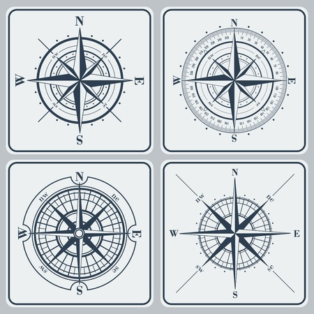 vintage compass: Set of compass roses (windroses) . Vector illustration.