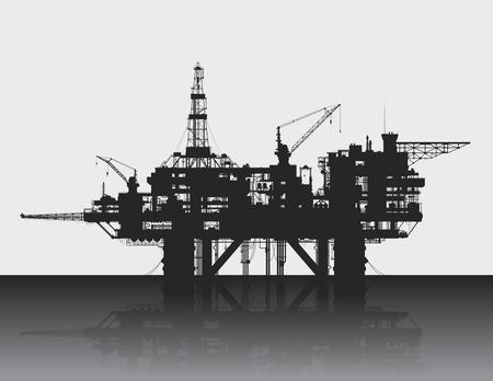 Plataforma petrolera mar. Plataforma de petróleo en las profundidades del mar. Ilustración detallada del vector. Ilustración de vector