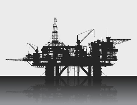 Sea oil rig. Oil platform in the deep sea. Detailed vector illustration.