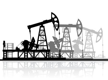 pozo petrolero: Bombas de petróleo de la silueta aislado en el fondo blanco. Ilustración detallada del vector.