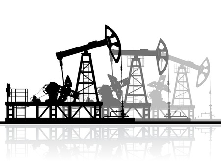 derrick: Oil pumps silhouette isolated on white background. Detailed vector illustration.