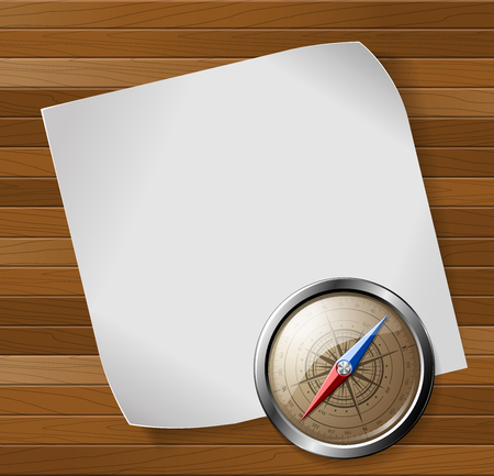 Steel detailed compass and white paper sheet over wooden background. Vector illustration.