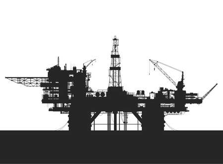 Sea oil rig. Oil platform in the sea. Detailed vector illustration. Stock Illustratie