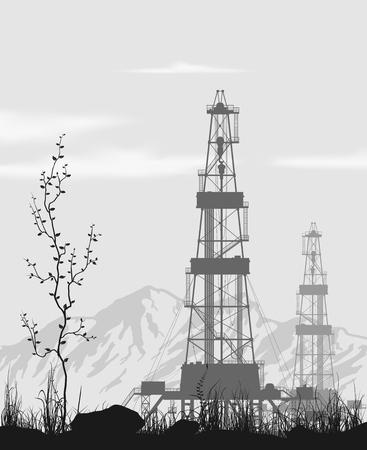 yacimiento petrolero: Plataformas petroleras en campos petroleros sobre rango de montaña. Ilustración vectorial detallada.