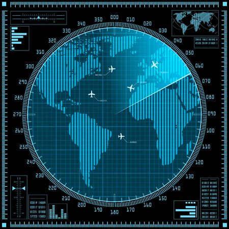 blip: Blue radar screen with planes and world map. Vector EPS10.