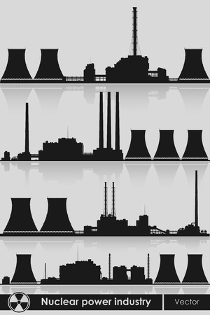coal plant: Silhouettes of a nuclear power plants Illustration