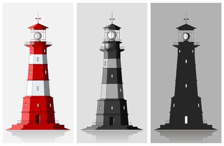 lighthouse at night: Set of large lighthouses over grey background Illustration