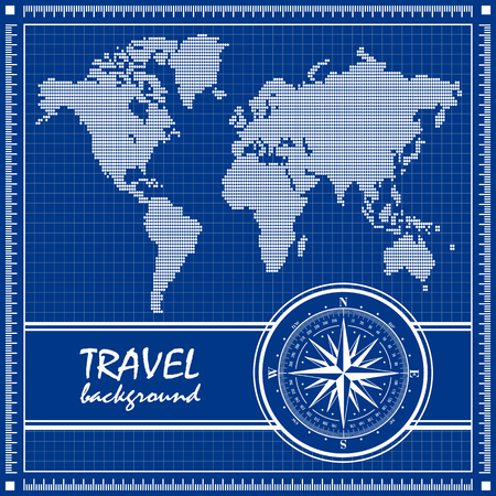 Blueprint. Travel background with dotted world map and compass rose. Vector illustration. Vector