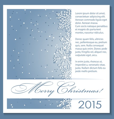 snowflake border: Christmas blue background with snowflakes and copy-space. Vector eps10.