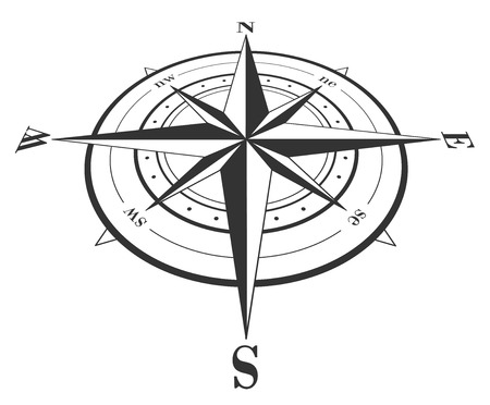 windrose: Compass rose isolated on white. Vector illustration.