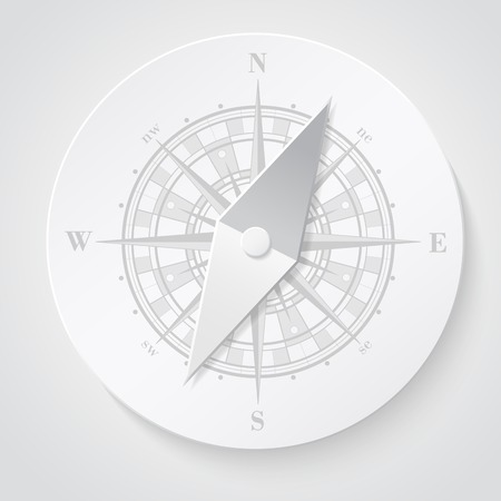 old world: Paper compass (windroses) . Vector illustration.