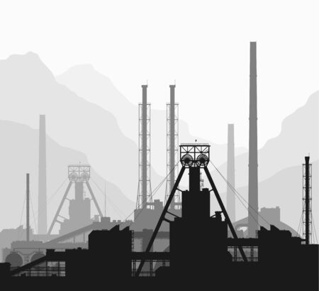 oil pollution: Mineral fertilizers plant over great mountain range. Black and white detailed vector illustration of large of manufacturing plant. Illustration