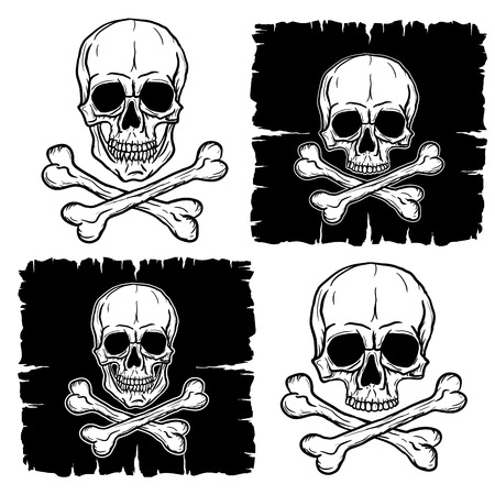 skull and crossbones: Set of Skull and Crossbones isolated over white background. Freehand drawing. Vector illustration. Illustration