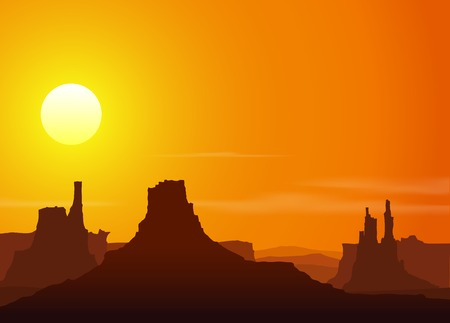 colorado rocky mountains: Sunset in the Rocky Mountains. Vector illustration. Illustration