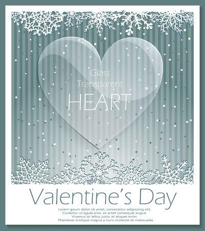 hintergrund liebe: Valentines Day Glas transparent Herz �ber gestreiften schneit Hintergrund. Liebe Hintergrund. Vector. Illustration