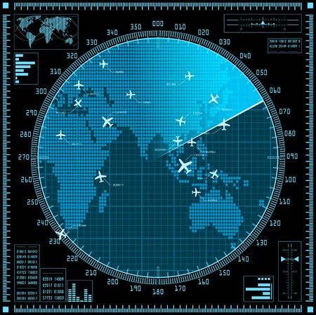 blip: Blue radar screen with planes and world map. Vector .
