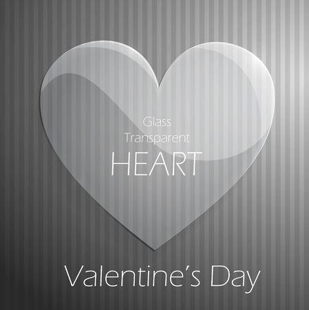 hintergrund liebe: Valentines Day Glas transparent Herz �ber gestreiften Hintergrund. Liebe Hintergrund. Vector. Illustration