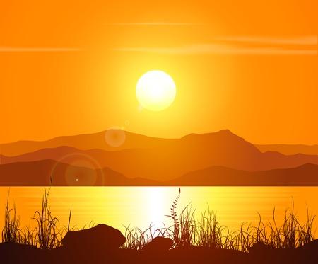 �sunset: Puesta de sol en las Monta�as Rocosas. Ilustraci�n del vector. Vectores
