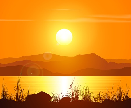 Sunset in the Rocky Mountains. Vector illustration. Иллюстрация