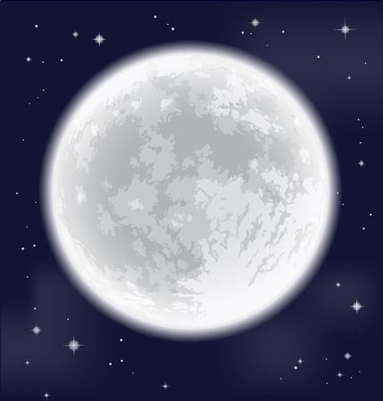 astro: Full moon. Freehand drawing. Detailed vector illustration.  Elements of this image furnished by NASA. Illustration