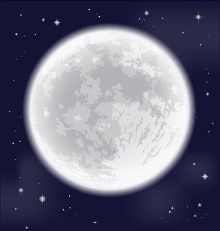 Volle maan. Uit de vrije hand tekening. Gedetailleerde vector illustratie. Elementen van deze afbeelding geleverd door NASA. Stock Illustratie