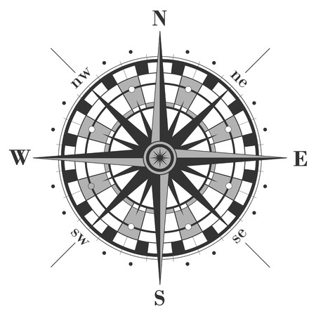 old compass: Compass rose isolated on white. Vector illustration.