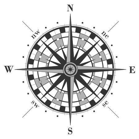 rosa dei venti: Compass rose isolato su bianco. Illustrazione vettoriale. Vettoriali