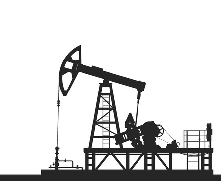 crude oil: Oil pump silhouette isolated on white background. Detailed vector illustration. Illustration