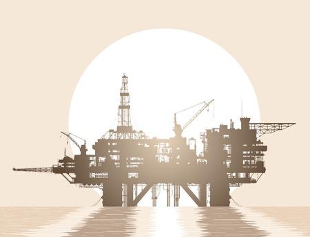 Sea oil rig. Oil platform in the deep sea over rising sun. Detailed vector illustration.