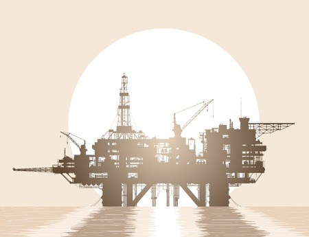 solar flare: Sea oil rig. Oil platform in the deep sea over rising sun. Detailed vector illustration.