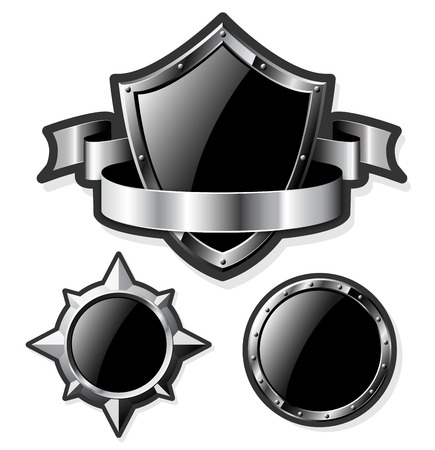 metal shield: Set of steel glossy shields isolated on white. Vector illustration. Illustration