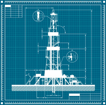 blue and white: Blueprint of Oil rig silhouette. Detailed vector illustration. Illustration