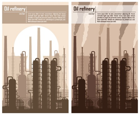 rectification: Oil refinery or chemical plant silhouette. Set of two illustration with copy-space. Detailed vector illustration.