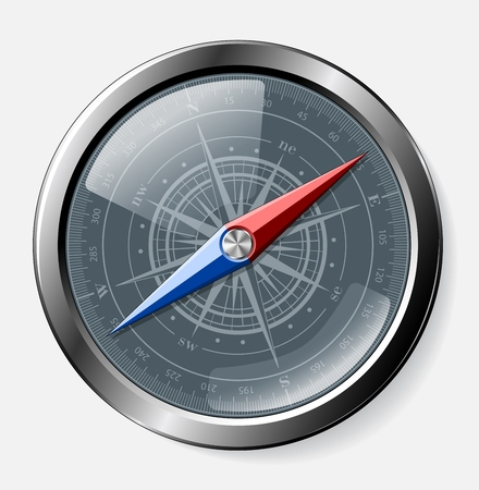 Steel detailed compass over grey background. Vector eps10. Vector