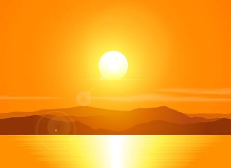 Landschap met zonsondergang op het strand over berg bereik. Vector illustratie.