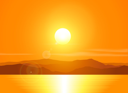 Landscape with sunset at the seashore  over mountain range. Vector illustration.