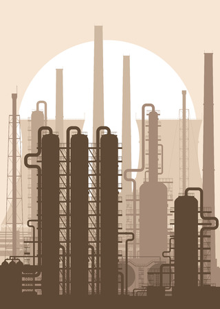 rectification: Oil refinery or chemical plant silhouette. Detailed vector illustration.