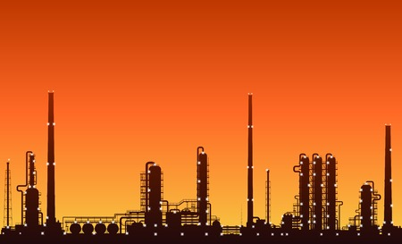 oil and gas industry: Oil refinery or chemical plant silhouette with night lights on at sunset. Detailed vector illustration.