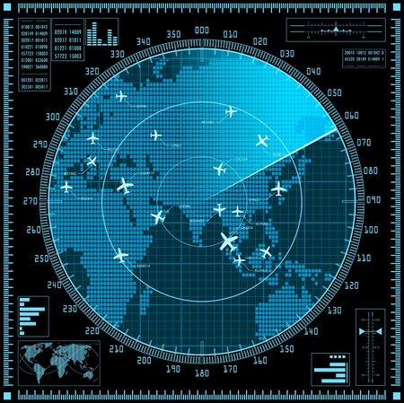 Blue radar screen with planes and world map.  Vectores