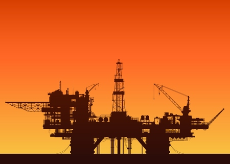 derrick: Sea oil rig at sunset. Oil platform in the sea. Detailed vector illustration.