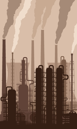 refinery: Oil refinery or chemical plant silhouette with smoking chimneys. Detailed vector illustration.